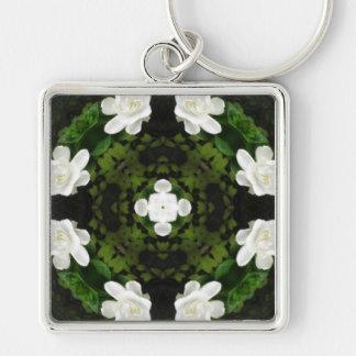 Beautiful Gardenia 5 Kaleidoscope 5 Silver-Colored Square Key Ring