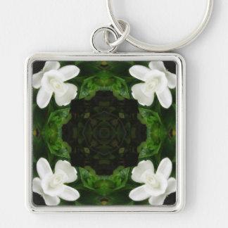 Beautiful Gardenia 5 Kaleidoscope 6 Silver-Colored Square Key Ring