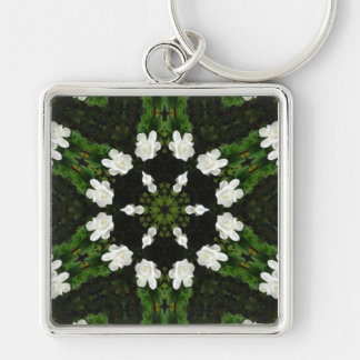 Beautiful Gardenia 5 Kaleidoscope 7 Silver-Colored Square Key Ring