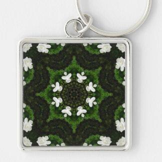 Beautiful Gardenia 5 Kaleidoscope 8 Silver-Colored Square Key Ring