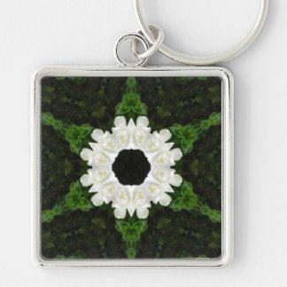 Beautiful Gardenia 5 Kaleidoscope 9 Silver-Colored Square Key Ring