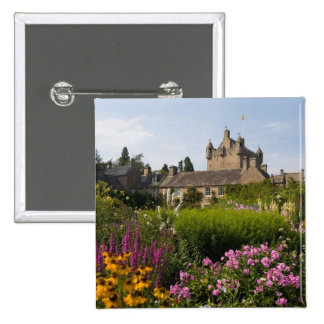 Beautiful gardens and famous castle in 15 cm square badge