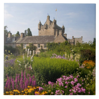 Beautiful gardens and famous castle in Scotland Large Square Tile