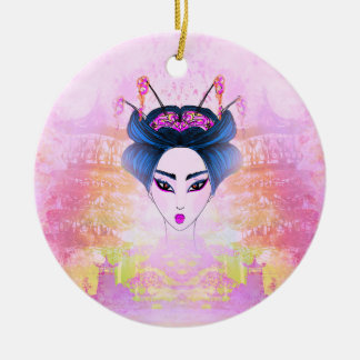 Beautiful geisha Portrait Decoration Round Ceramic Decoration
