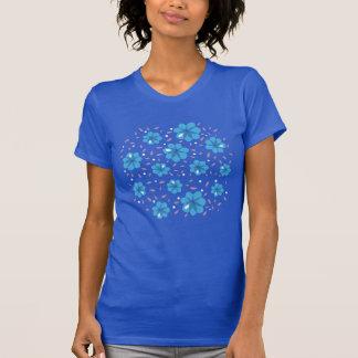 Beautiful Gentle Blue Flowers Pattern T-Shirt