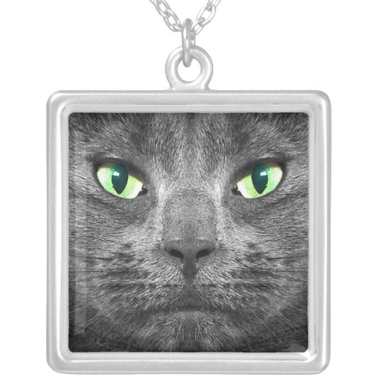 Beautiful George grey cat necklace