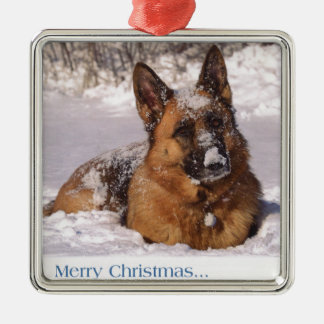 Beautiful  German Shepherd Dog in snow Christmas Ornament