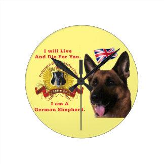 Beautiful German Shepherd Dog Round Clock