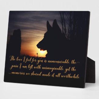 Beautiful German Shepherd Pet Memorial Plaque