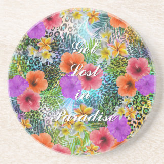 "Beautiful ""Get lost in Paradise"" custom quote Beverage Coasters"