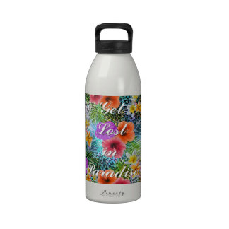 "Beautiful ""Get lost in Paradise"" custom quote Water Bottles"