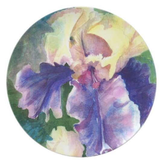 Beautiful Giant Iris Watercolor Plate