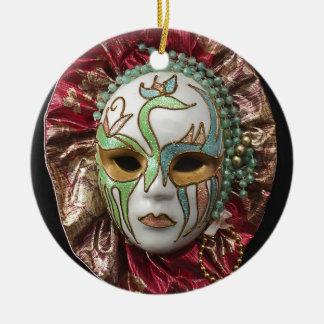 Beautiful Girl Carnival Mask Round Ceramic Decoration