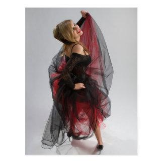 Beautiful girl in diaphanous dress postcard