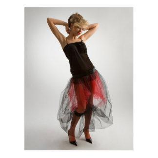 Beautiful girl in diaphanous skirt postcard