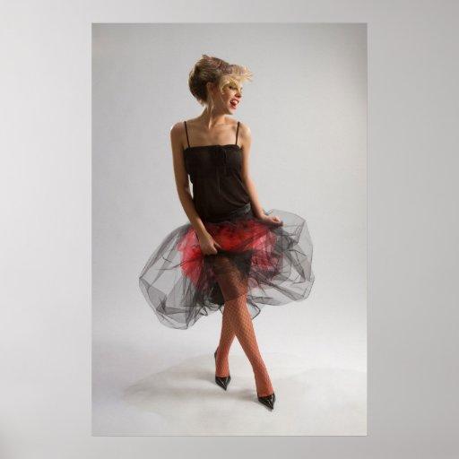 Beautiful girl in diaphanous skirt posters