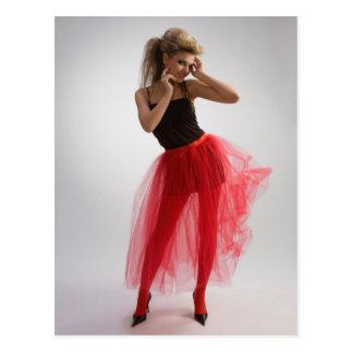 Beautiful girl in red skirt postcard