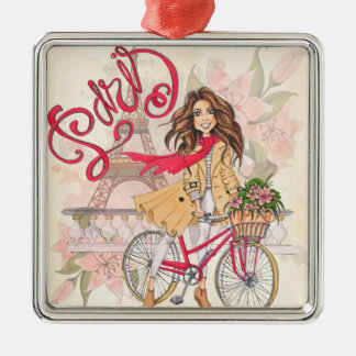 Beautiful Girl On A Bicycle In Paris Christmas Ornament