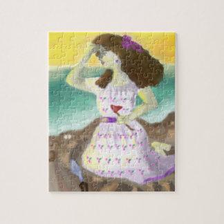 Beautiful girl on beach canvas art print jigsaw puzzle