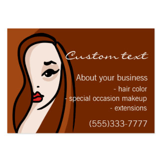 Beautiful girl professional hair, makeup promotion pack of chubby business cards