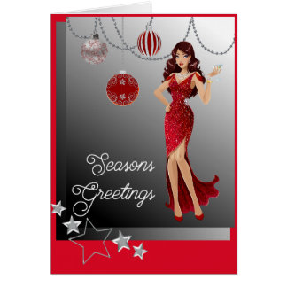 Beautiful Girl Red Evening Gown Dangling Ornaments Card