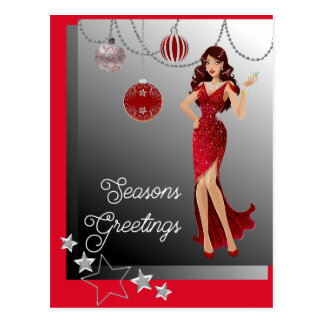 Beautiful Girl Red Evening Gown Dangling Ornaments Postcard