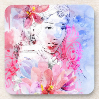 Beautiful girl with a bouquet of flowers beverage coasters