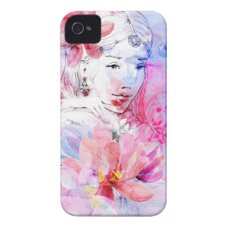 Beautiful girl with a bouquet of flowers Case-Mate iPhone 4 case