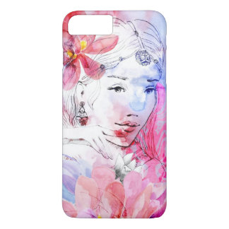 Beautiful girl with a bouquet of flowers iPhone 7 plus case