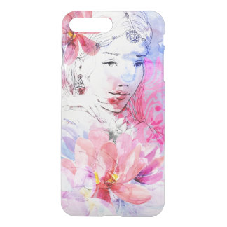 Beautiful girl with a bouquet of flowers iPhone 8 plus/7 plus case