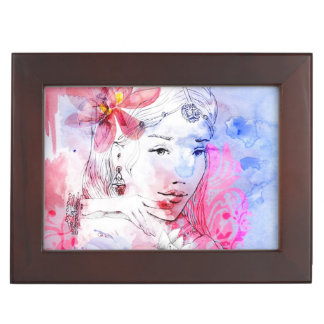Beautiful girl with a bouquet of flowers keepsake box