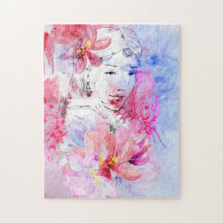 Beautiful girl with a bouquet of flowers puzzle