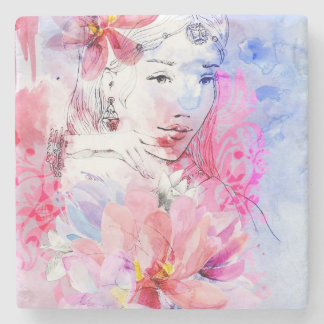 Beautiful girl with a bouquet of flowers stone coaster
