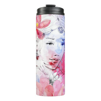 Beautiful girl with a bouquet of flowers thermal tumbler
