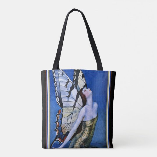 """Beautiful""""Girl With Butterfly Wings"""" Art Deco Tote"""