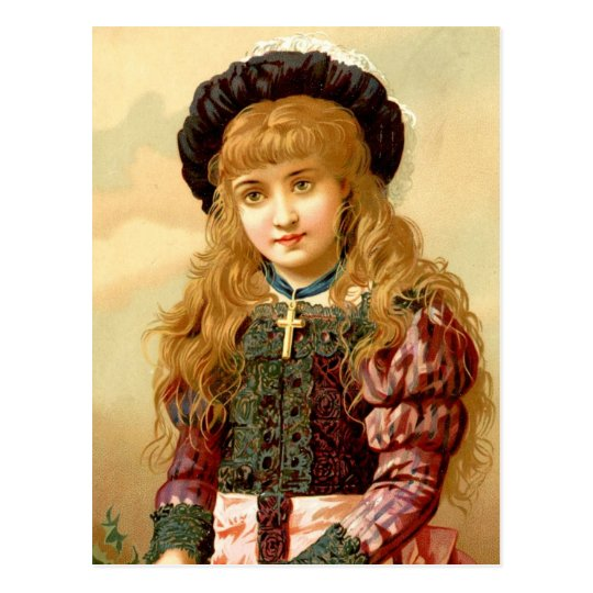 Beautiful Girl with Gold Cross Pendant Postcard