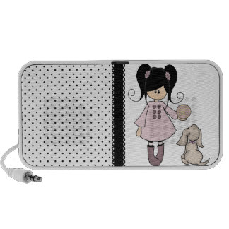 Beautiful Girl with Her Dog Notebook Speakers