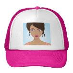Beautiful girl with pink bra mesh hat
