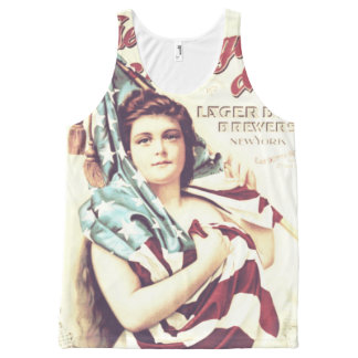 Beautiful Girl Wrapped In American Flag All-Over Print Tank Top