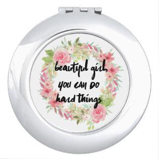 Beautiful Girl YOU CAN DO HARD THINGS Compact Makeup Mirrors