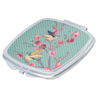 Beautiful girly chic vintage spring tree blossom compact mirrors
