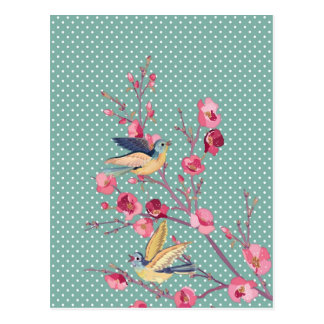 Beautiful girly chic vintage spring tree blossom postcard