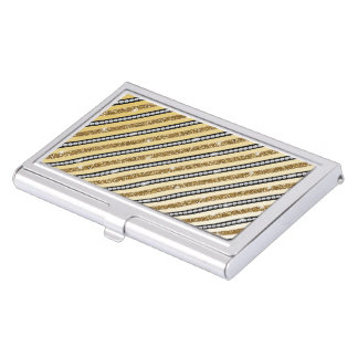 Beautiful girly gold faux glitter white pearls business card holder