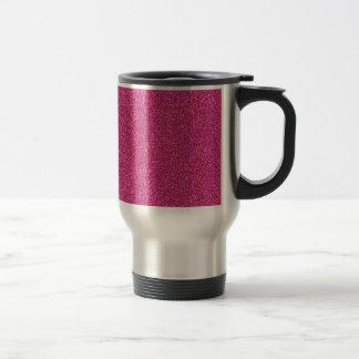 Beautiful girly hot pink glitter effect background travel mug