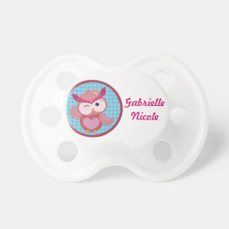 Beautiful Girly Owl Personalized Custom Name Baby Pacifiers