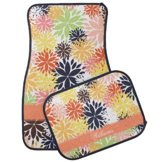Beautiful girly trendy floral illustration pattern car mat