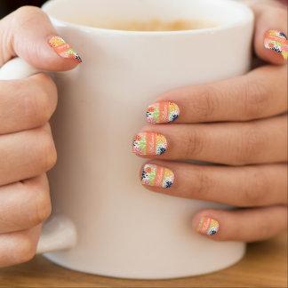 Beautiful girly trendy floral illustration pattern minx nail art