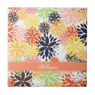 Beautiful girly trendy floral illustration pattern small square tile