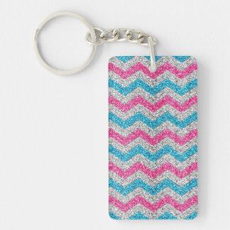 Beautiful girly trendy glitter shining zigzag key ring