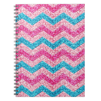 Beautiful girly trendy glitter shining zigzag spiral notebook